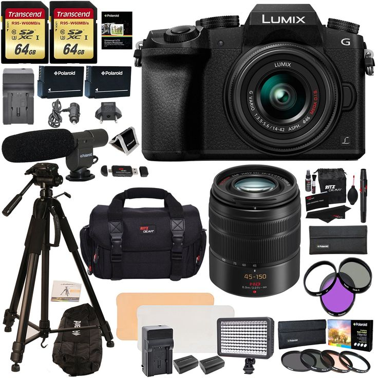 "Panasonic DMC G7KK Mirrorless 4K Camera 14-42mm Lens Kit + Panasonic H-FS45150AK Lumix G Vario 45-150mm Lens + 2 Transcend 64 GB + LED Light Flash + Polaroid 72"" Tripod + Microphone + Accessory Bundle. Superb DSLM image quality without the bulk and weight of traditional DSLRs. Never miss a photo with three unique 4K Ultra HD Video pause and save 4K Photo Modes. Class-leading, ultra-compact, interchangeable lens and accessory options. Fast and precise auto focusing tracks the subject --..."