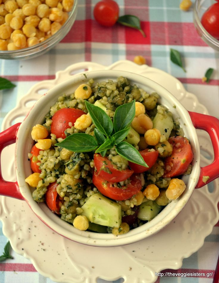 Pesto chickpeas with bulgur and cherry tomatoes: a perfect summery wholesome meal!