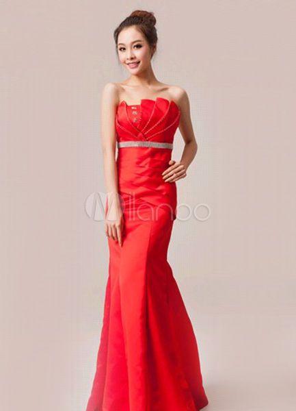 Red Rhinestone Scalloped-Edge Neck Mermaid Satin Grace Evening Dress - Milanoo.com
