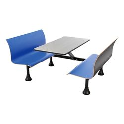 Retro Bench w/ Stainless Steel Table Top - Wall Frame - Benches shown in blue