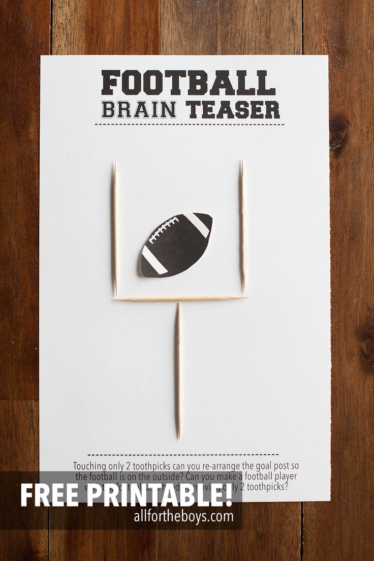 Printable football brain teaser - perfect for a Super Bowl or football party!