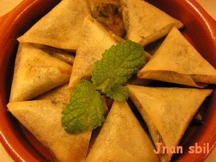 Samoussa Viande hachée + coriandre + poireaux fondus + curry + cumin + sel + poivre + feuilles de brick