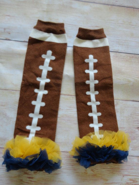 Toddler, Little Girls Knit Ruffle U of M Football Leg Warmers, Blue and Gold University of Michigan colors, fits 2t 3t 4t 5, 6, 7