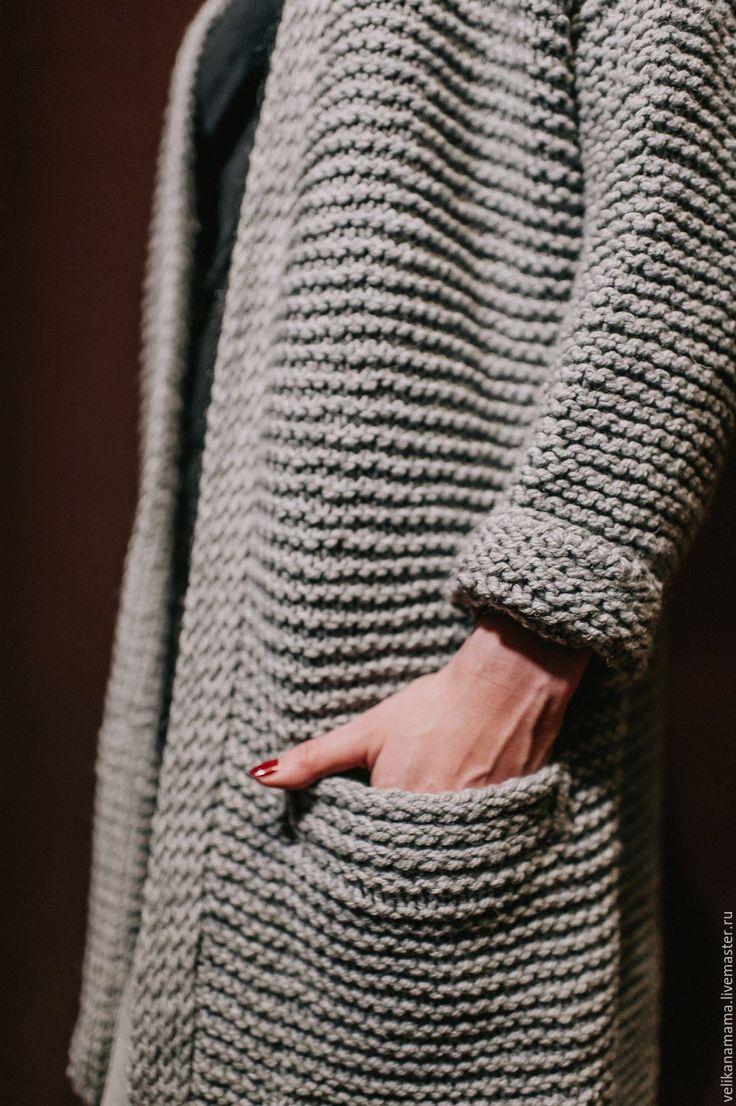 """Купить """"Кардиган длинный"""" светло-серый. - серый, купить кардиган, теплая одежда, стильный кардиган"""
