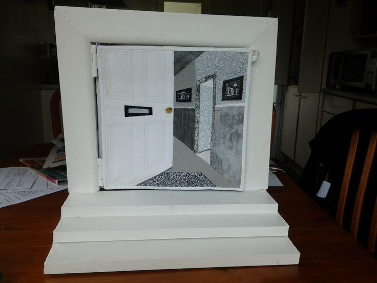 'Beyond a ' looking through a door.