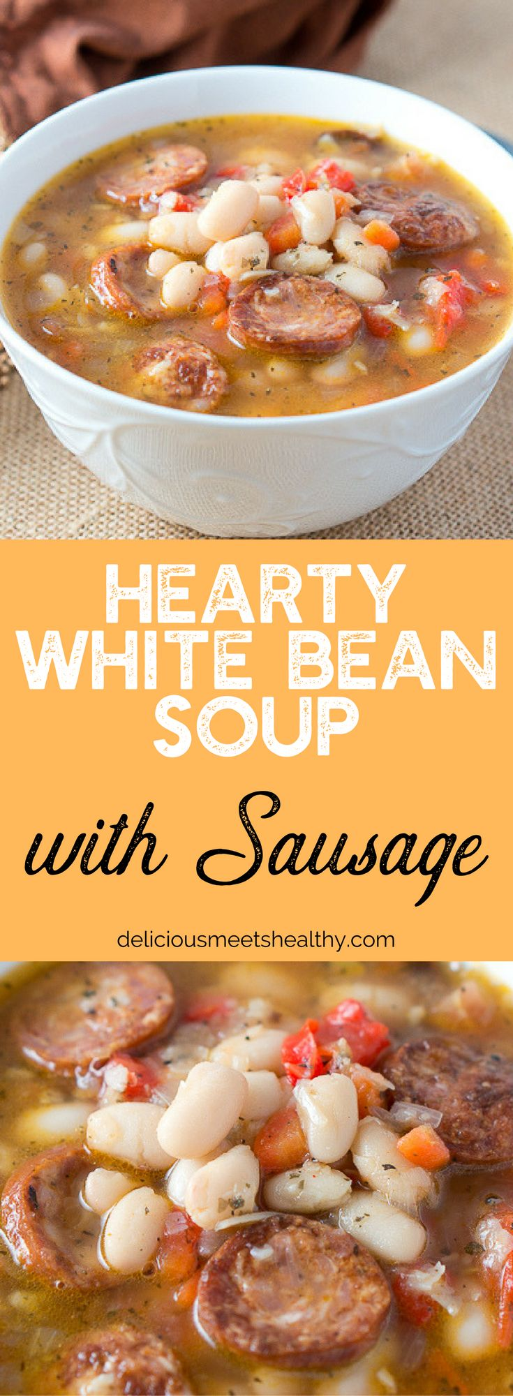 Warm and Hearty White Bean Soup with Sausage - perfect for a cozy cold winter day. This soup has an amazing flavor and is so delicious!!