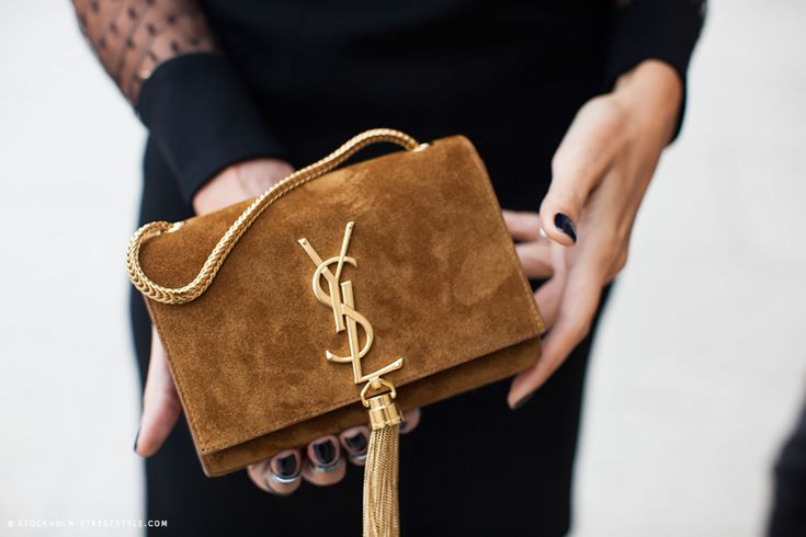 a mini suede YSL (image: stockholmstreetstyle) | Bag Crushin ...