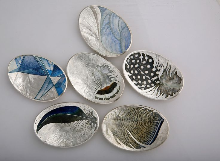 Jane Short CHAMPLEVÉ enamel feather and water brooches. hand engraved and vitreous enamelled.