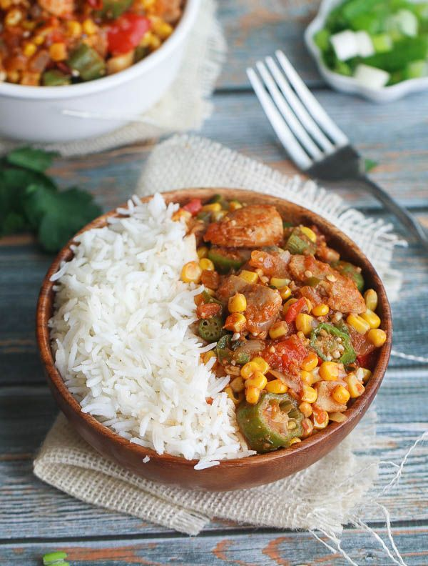 Creole Chicken Okra: Hearty, Healthy and Filling with tons of vegetables ,spice  and comes together quickly. Replace canola with red palm oil or ghee and replace corn with yam