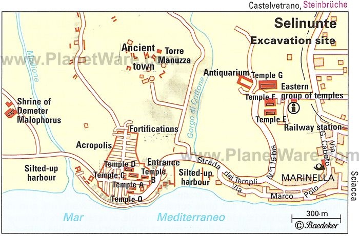 Map of the archeological site of Selinunte.