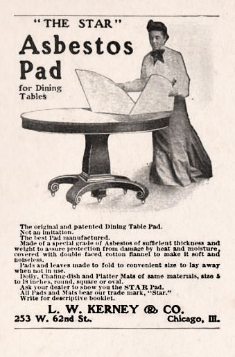 HOUSEWARES: L.W. Kerney & Co. Asbestos Pad for Dining Tables, 1909 - The best pad manufactured, made with asbestos.