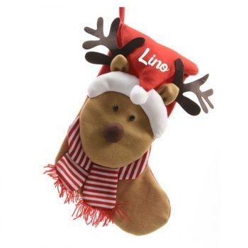 Découvrez cette Chaussette de Noël personnalisée - Renne Merveilleux sur poupepoupi.com #chaussettedenoël #cadeaudenoël