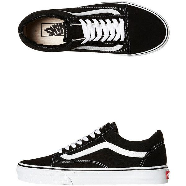 Vans Womens Old Skool Shoe (€80) ❤ liked on Polyvore featuring shoes, sneakers, black, vans shoes, vans footwear, kohl shoes, striped shoes and black shoes