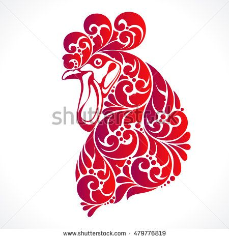 Decorative ornamental red cock isolated on white. Vector abstract fire cock illustration - symbol 2017 year, logo, design element, packaging, banner, poster, business sign, identity, branding