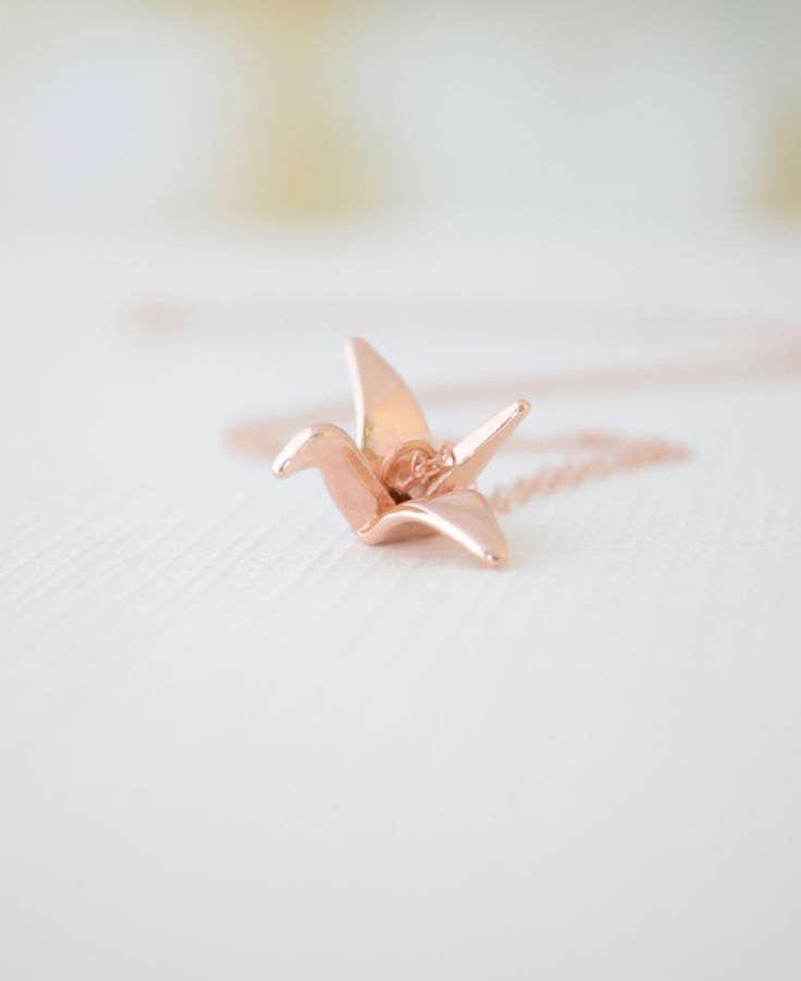 Origami Crane Necklace – Rose gold filled necklace with lucky crane