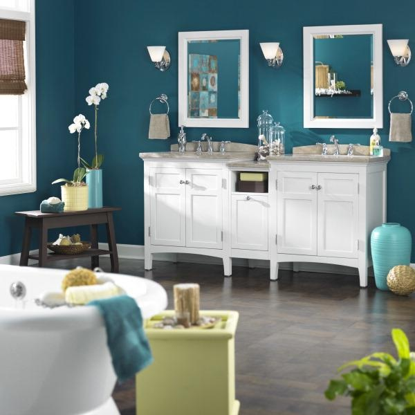 a pop of color on the walls can completely transform your bathroom via