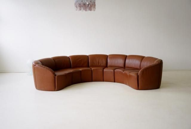 Vintage Curved Leather Sofa By Walter Knoll 1960s In 2020 Leather Sofa Walter Knoll Curved Sofa