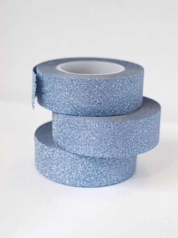 Blue Charcoal glitter tape by ctdscraftsupply on Etsy