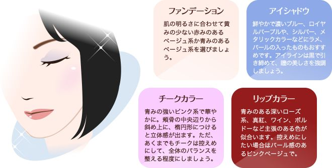 ファンデーション:肌の明るさに合わせて黄みの少ない赤みのあるベージュ系か青みのあるベージュ系を選びましょう。/アイシャドウ:鮮やかで濃いブルー、ロイヤルパープルや、シルバー、メタリックカラーなどにラメ、パールの入ったものもおすすめです。アイラインは黒で引き締めて、瞳の美しさを強調しましょう。/チークカラー:青みの強いピンク系で華やかに。頬骨の中央辺りから斜め上に、楕円形につけると立体感が出ます。ただ、あくまでもチークは控えめにして、全体のバランスを整える程度にしましょう。/リップカラー:青みのある深いローズ系、真紅、ワイン、ボルドーなど主張のある色が似合います。控えめにしたい場合はパール感のあるピンクベージュで。