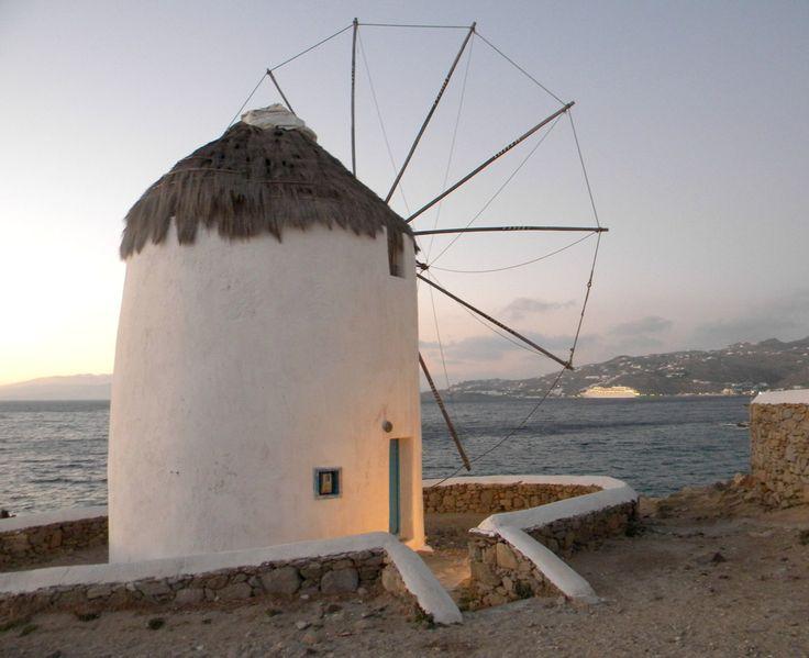 Sunset photo print, Greece summer home decor, Mykonos windmill sunset photo print by prosinemi on Etsy