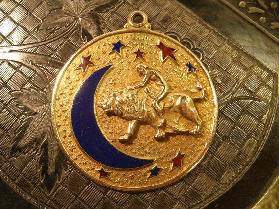 Large 14K Gold Medallion Pendant Vintage by TheProfessorsAttic
