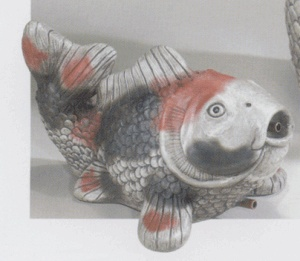 Lawn ornament solid concrete koi fish statue yard ideas for Koi fish ornament