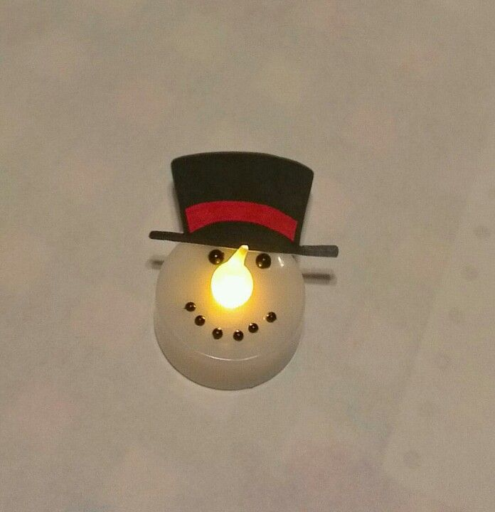 Led tealight snowman tea light from ikea black sharpie for Ikea tea light battery