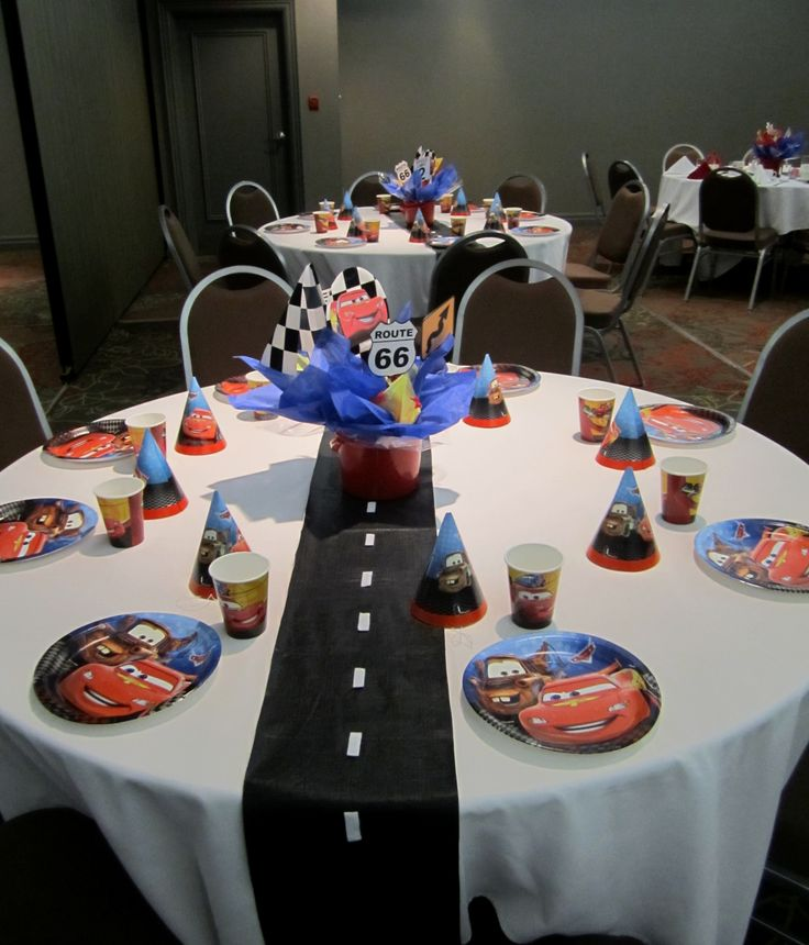 kids tables for Justin's Cars themed party