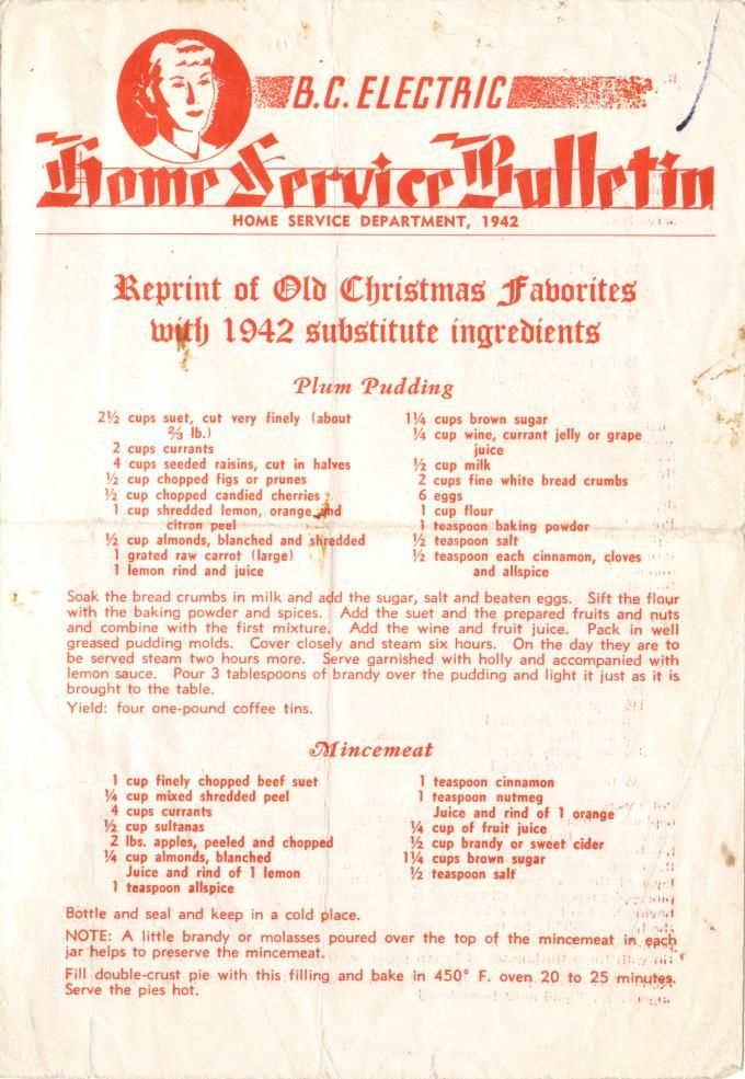 Recipe ideas from BC Electric | Wartime Canada Complete Pamphlet