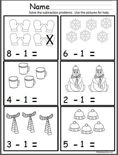 free winter math subtraction page for kindergarten and 1st. Black Bedroom Furniture Sets. Home Design Ideas