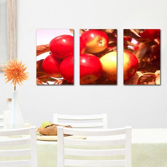 Красные яблоки напечатаны на холсте, бесплатная доставка Home decor современные настенные Декоративные картины маслом в кухне без рамки