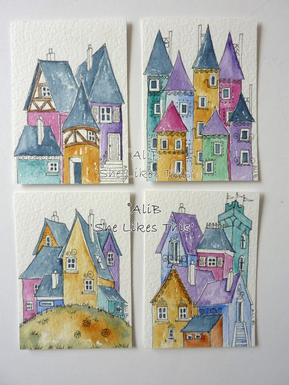 Colourful Houses architecture House Original watercolour painting