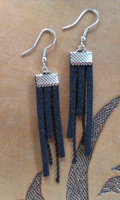 Week 23 - Earrings - Black suede cord and black chain