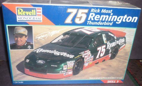 #2518 Revell /Monogram Rick Mast #75 Remington Thunderbird 1/24 Scale Plastic Model Kit by Revell/Monogram. $11.99. chrome plated parts and black vinyl tires. Accurate Thunderbird Body work. Authentic Sponsor Decals. Highly Detailed racing Engine and Chassis. Skill Level 3 ,For ages 12 and up. Rick Mast #75 Remington Thunderbird 1/24 Scale Plastic Model Kit.  Made by Revell/Monogram,marked #2518,1997. Skill Level 3,for ages 12 and up. Brand New in factory sealed box.