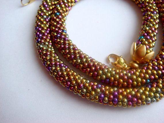 Necklace of gold Japanese Miyuki beads Golden by Vasilisinsunduk
