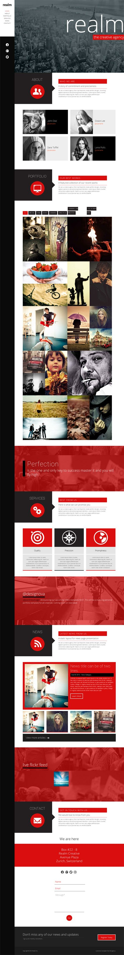 REALM - Unique One Page Parallax Responsive HTML5 Template