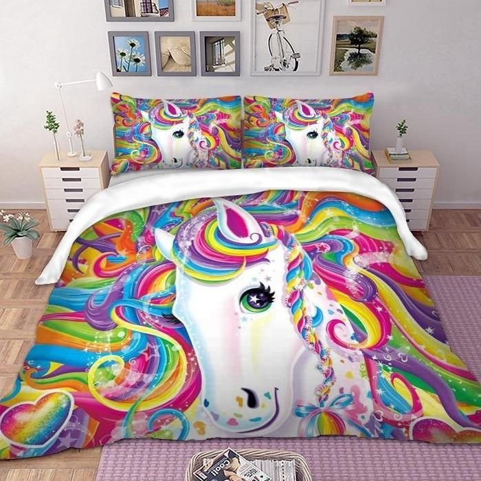 Featuring Lisa Frank S Rainbow Majesty Print This Adorable Rainbow Majesty Bedding Set Is Exceptionally Vibra Duvet Bedding Sets Bed Linens Luxury Bedding Set