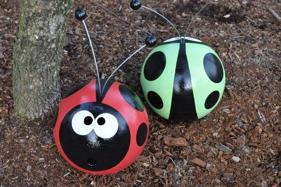 Red Ladybug Bowling Ball Garden Art