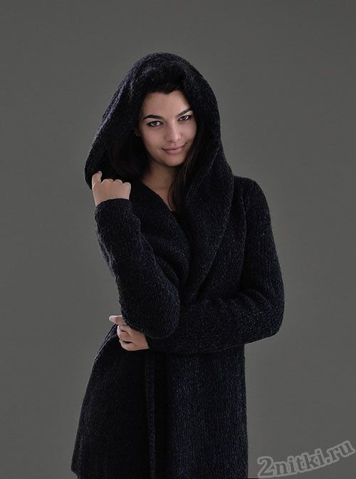 Уютное пальто с капюшоном  XS-XXL