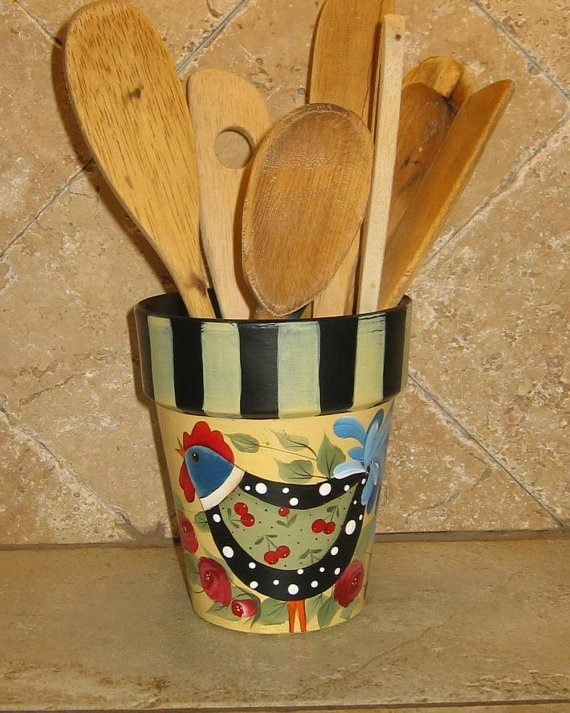 Hand Painted folk art flower pot with by 1RamblingPaintbrush