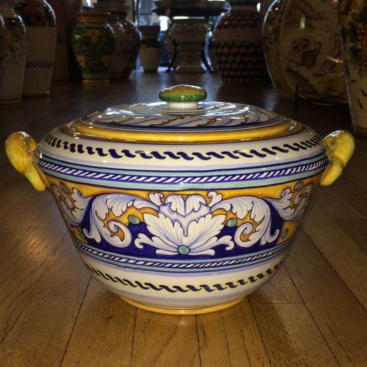 Deruta Two Handled Italian Ceramic Tureen with Lid - handmade, hand painted Italian pottery from Deruta. The detail on this piece is impeccable. Sold at the Italian Pottery Outlet in Santa Barbara, CA