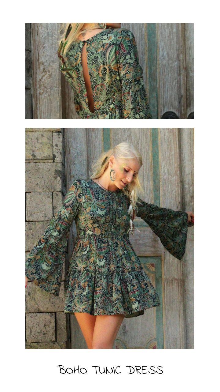 Boho Tunika Kleid Mit Trompetenarmel Marchenwald 45 00 Sommerkleid Boho Kleid Mini Kleid Kleid Trompetenarmel Tunika Kleid Boho Tunika