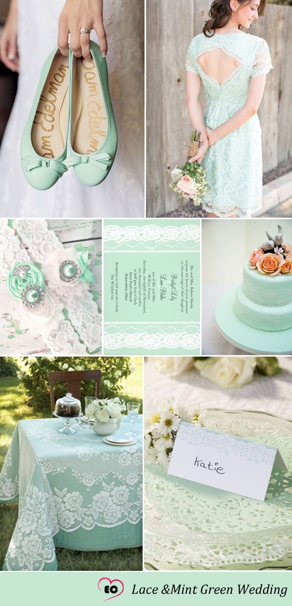 Lace and Mint Green Wedding Yes yes YES! Lace adds that romantic touch ❤️❤️