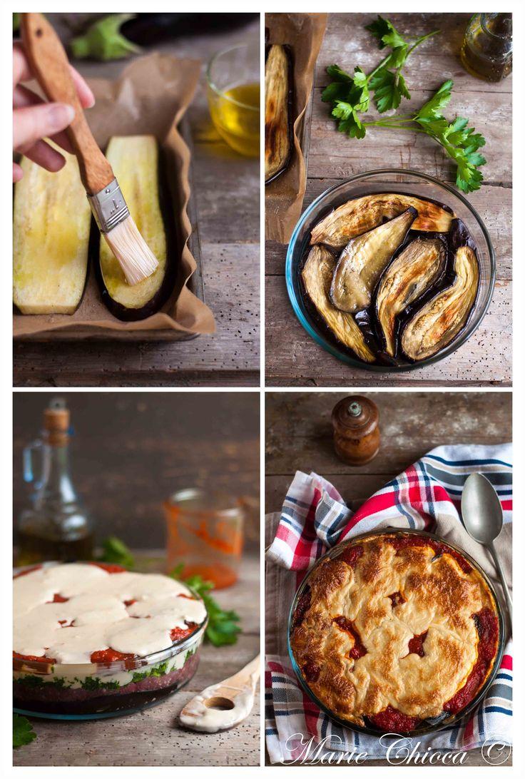 Moussaka au « fromage végétal » fondant ( Sans Lait, Sans Oeufs, Sans Gluten, IG Bas )