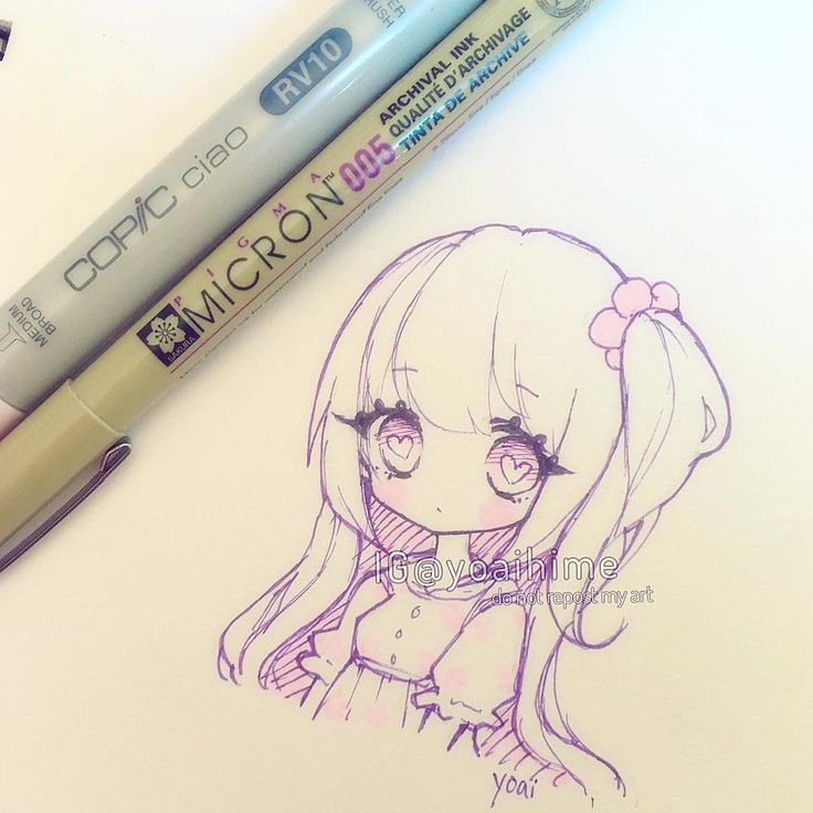 Small sketch uwu Starting to work on a tutorial video atm~ #copic #micron #chibi…