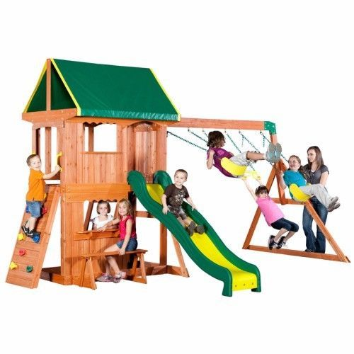 Kids Outdoor Playground Wooden Swing Set Backyard Play Set Climbing Frame Slide  #BackyardDiscovery