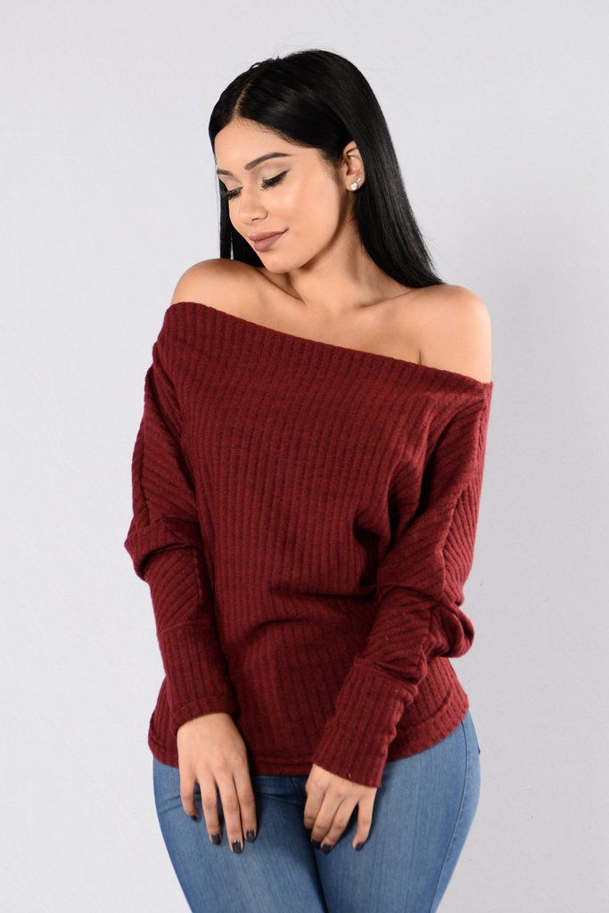 - Available in Burgundy, Camel, and Charcoal - Off Shoulder Sweater - Long Sleeve - Ribbed - Loose Fit - Made in USA - 95% Polyester 5% Spandex