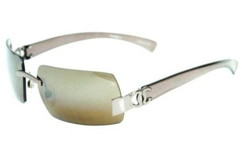 Chanel Rimless Rectangular Sunglasses Bronze Brown Mirror 4048 Italy