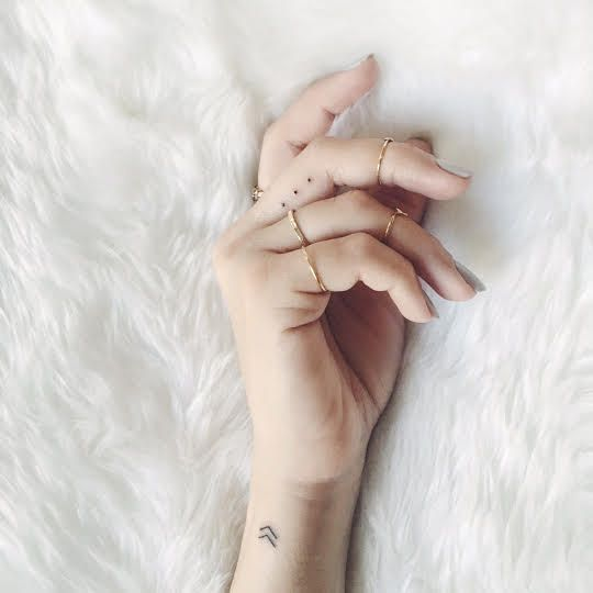 """Hi! I got two tattoos in one sitting; one is the viking chevron that means """"create your own reality"""" and the other is an ellipsis (I'm an editor & I love punctuation symbols.) My best friend and I went together. Thanks so much! My Instagram is @laurencaruso_ if you'd like to use xx"""