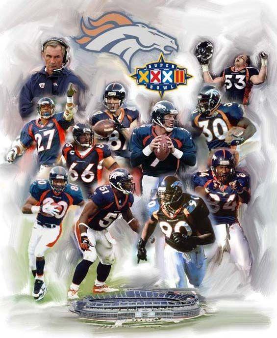 denver broncos | Denver Broncos Super Bowl XXXII Champions Vertical Stretched Giclee ...